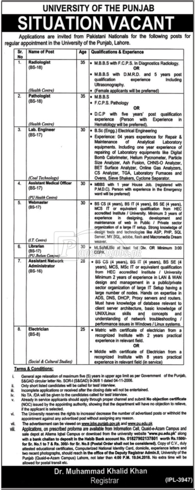 Punjab University Lahore Jobs 2018