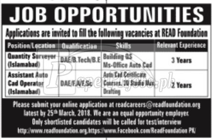 Read Foundation Jobs 2018
