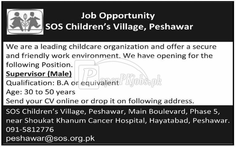 SOS Children's Village Peshawar Jobs 2018