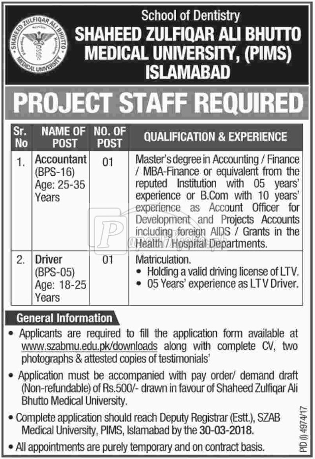Shaheed Zulfiqar Ali Bhutto Medical University PIMS Islamabad Jobs 2018