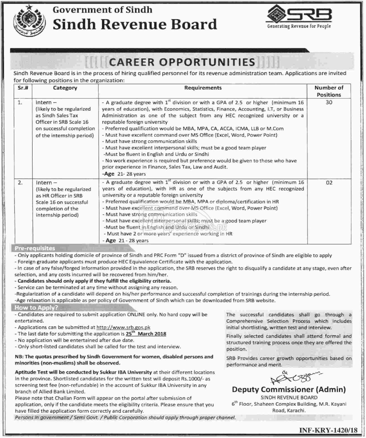 Sindh Revenue Board SRB Jobs 2018