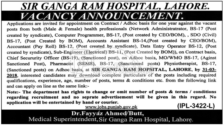 Sir Ganga Ram Hospital Lahore Jobs 2018