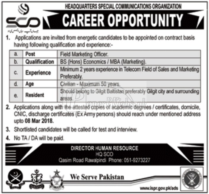 Special Communications Organization SCO Jobs 2018