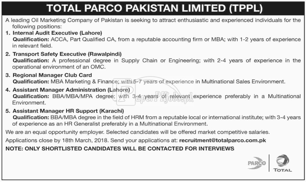 TOTAL Parco Pakistan Limited TPPL Jobs 2018