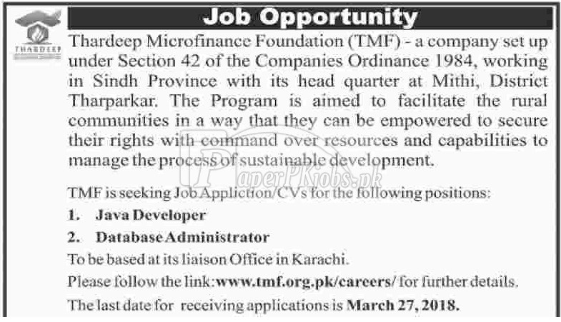 Thardeep Microfinance Foundation TMF Jobs 2018