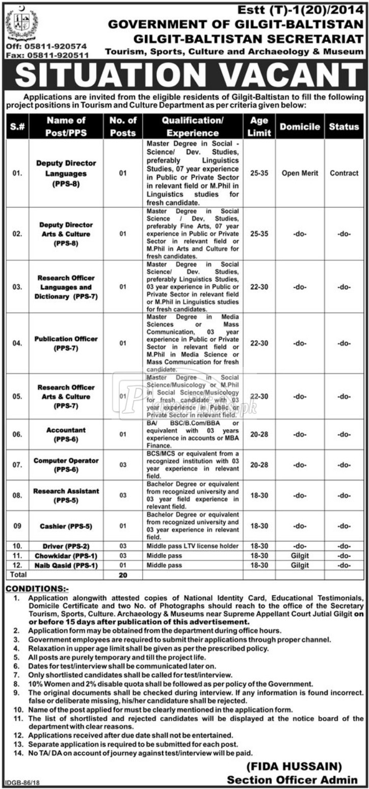 Tourism Sports Culture and Archaeology & Museum Department Gilgit Baltistan Jobs 2018