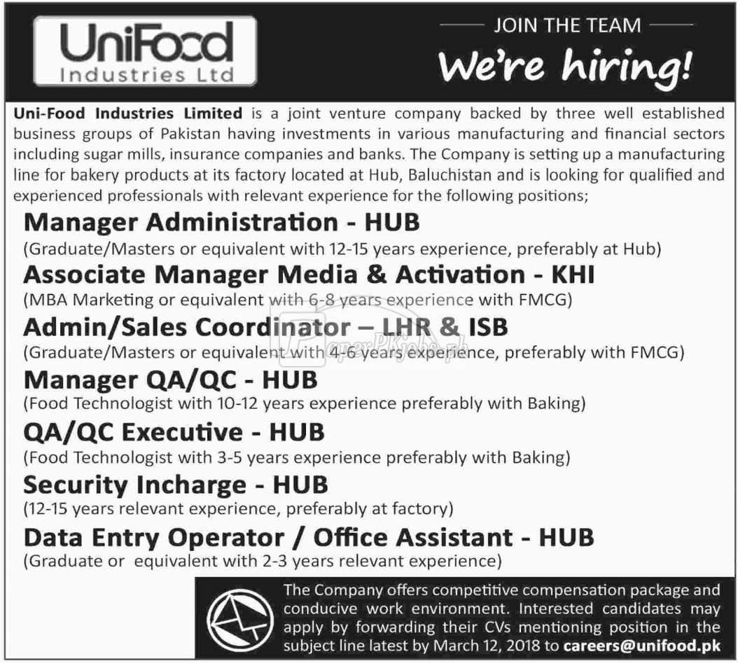 Uni Food Industries Ltd Jobs 2018