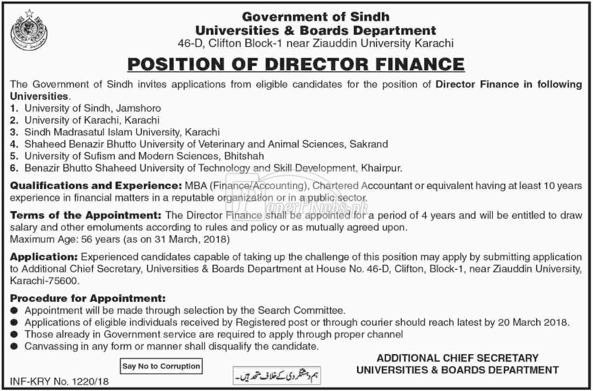 Universities & Boards Department Government of Sindh Jobs 2018