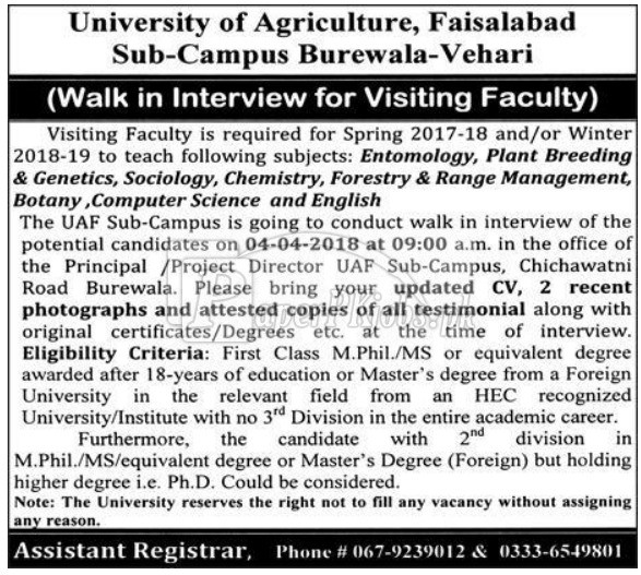 University of Agriculture Faisalabad Jobs 2018