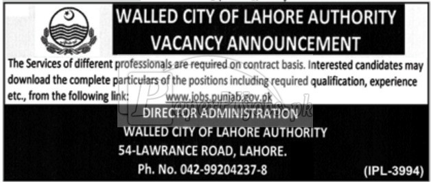 Walled City of Lahore Authority Jobs 2018