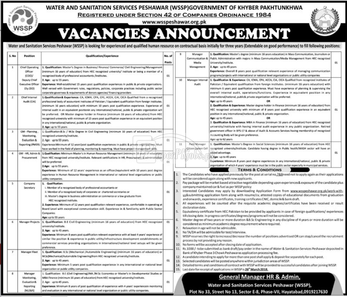 Water and Sanitation Services Peshawar WSSP Jobs 2018