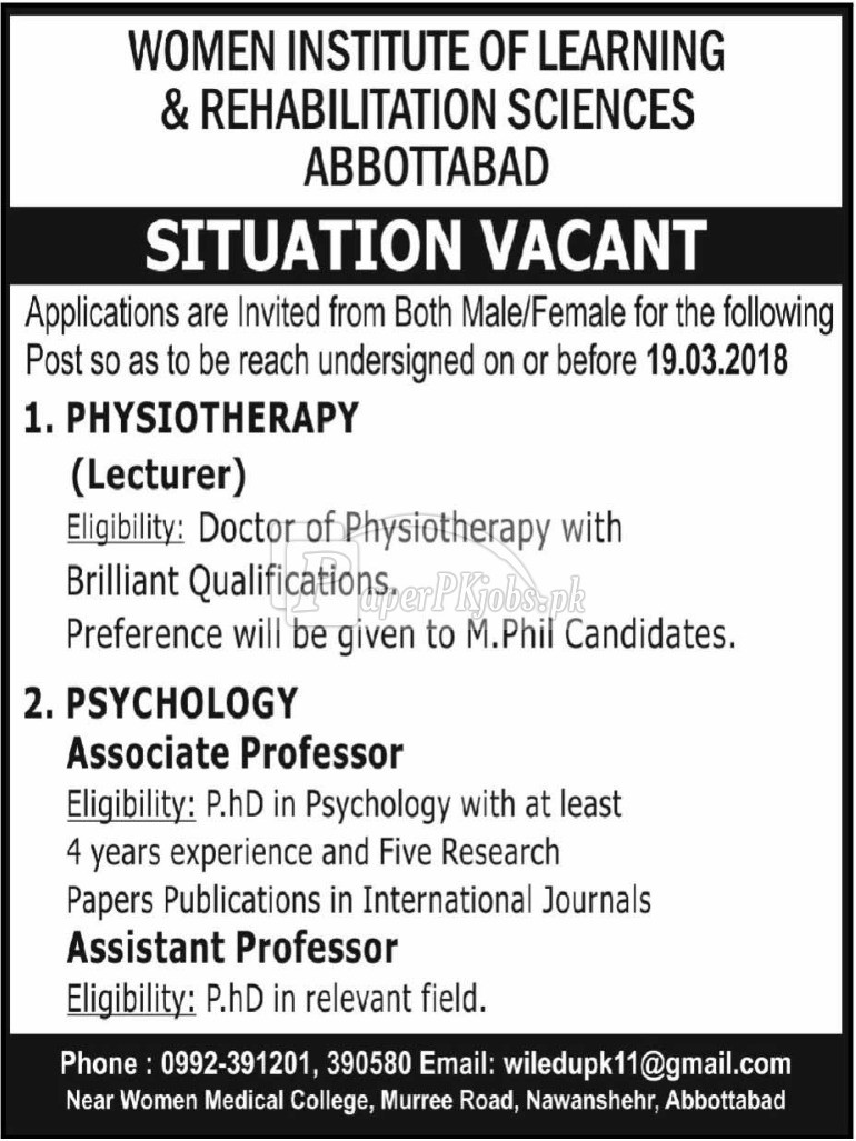 Women Institute of Learning & Rehabilitation Sciences Abbottabad Jobs 2018