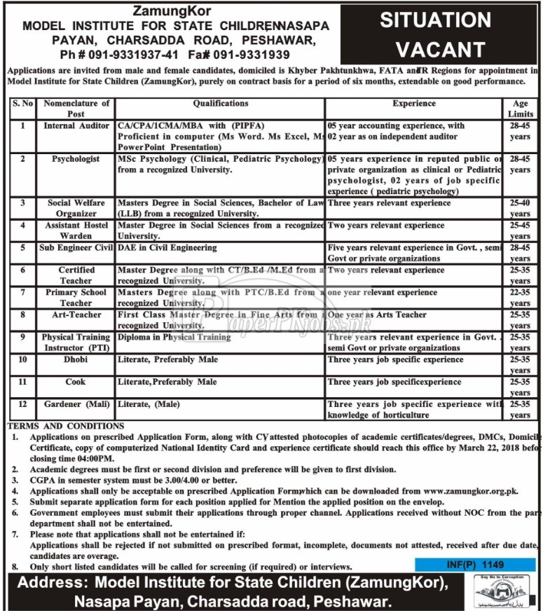 Zamung Kor Model Institute for State Children Peshawar Jobs 2018