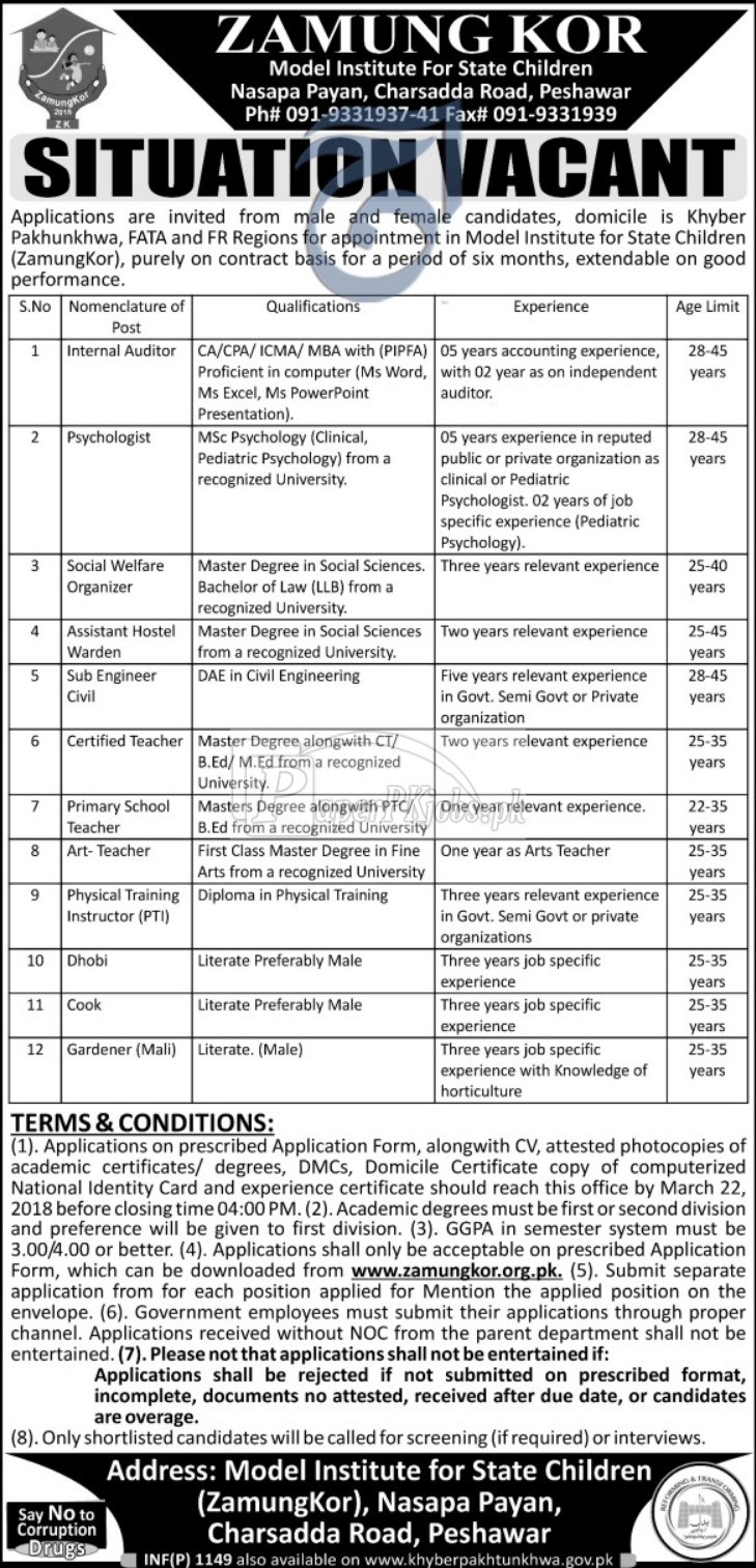 Zamung Kor Model State for State Children Peshawar Jobs 2018