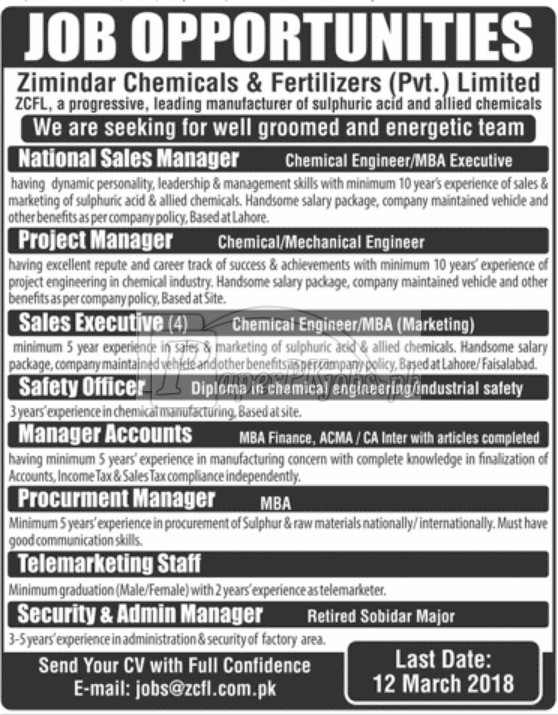 Zimindar Chemicals & Fertilizers Pvt. Ltd. ZCFL Jobs 2018