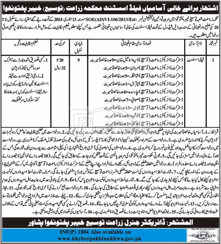 Agriculture Department KPK Jobs 2018