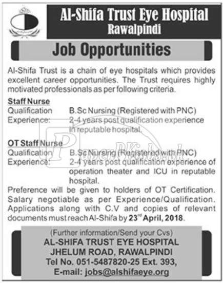 Al Shifa Trust Eye Hospital Rawalpindi Jobs 2018