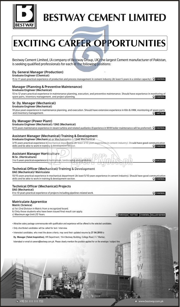 Bestway Cement Limited Jobs 2018