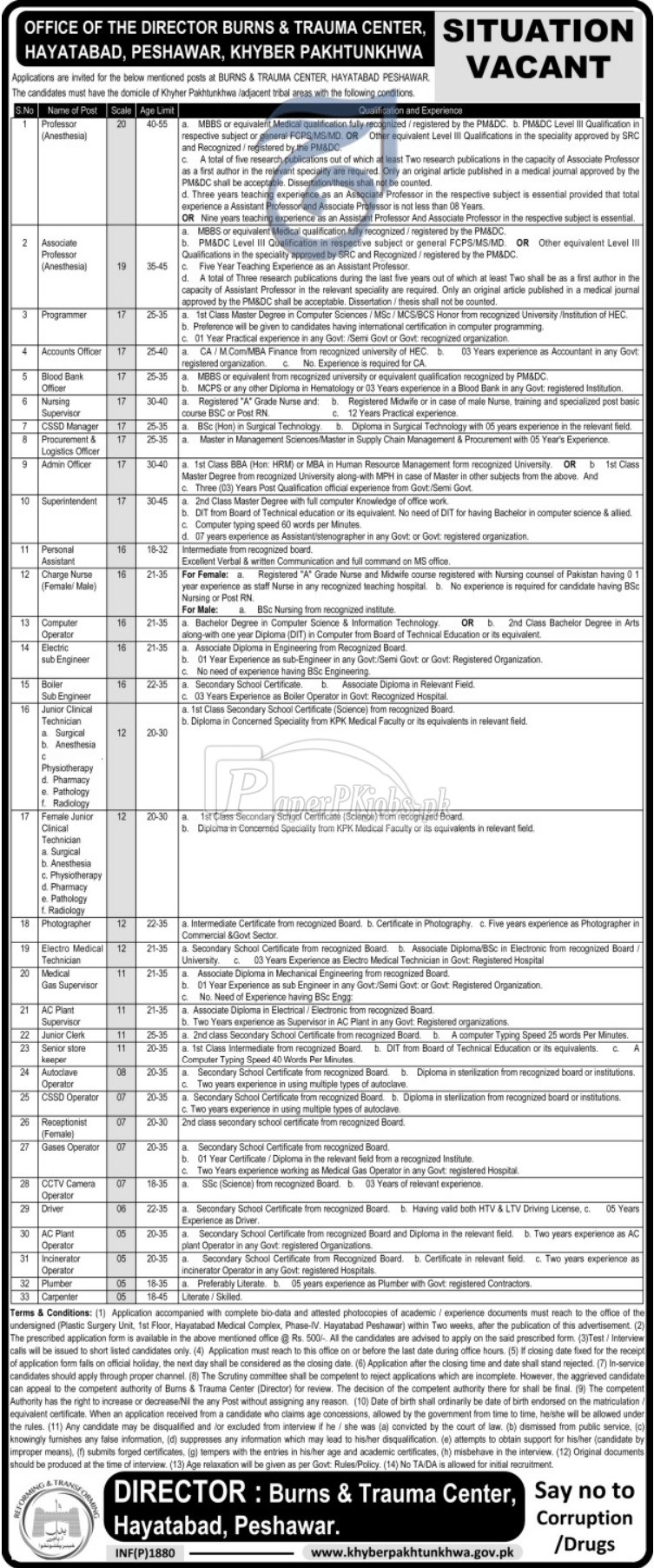Burns & Trauma Center Hayatabad Peshawar Jobs 2018