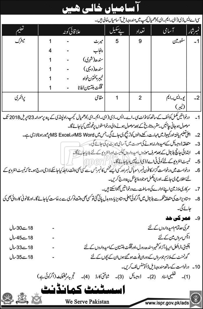 CASD Dhamial Camp Pak Army Jobs 2018