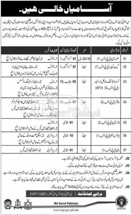 CMT & SD Golra Rawalpindi Jobs 2018