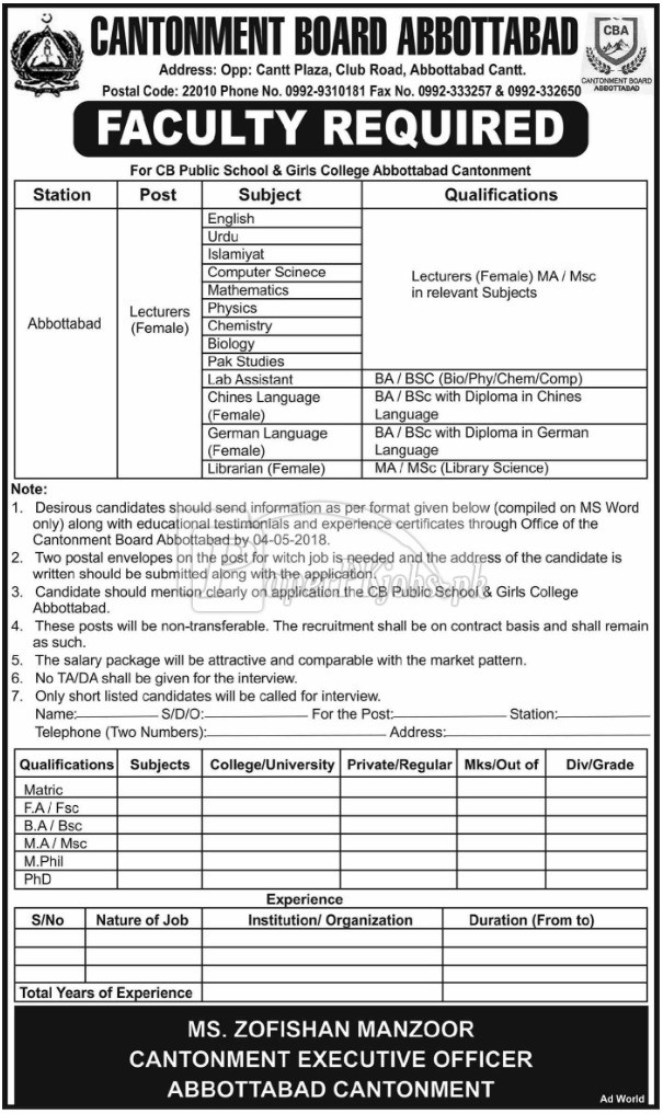 Cantonment Board Abbottabad Jobs 2018