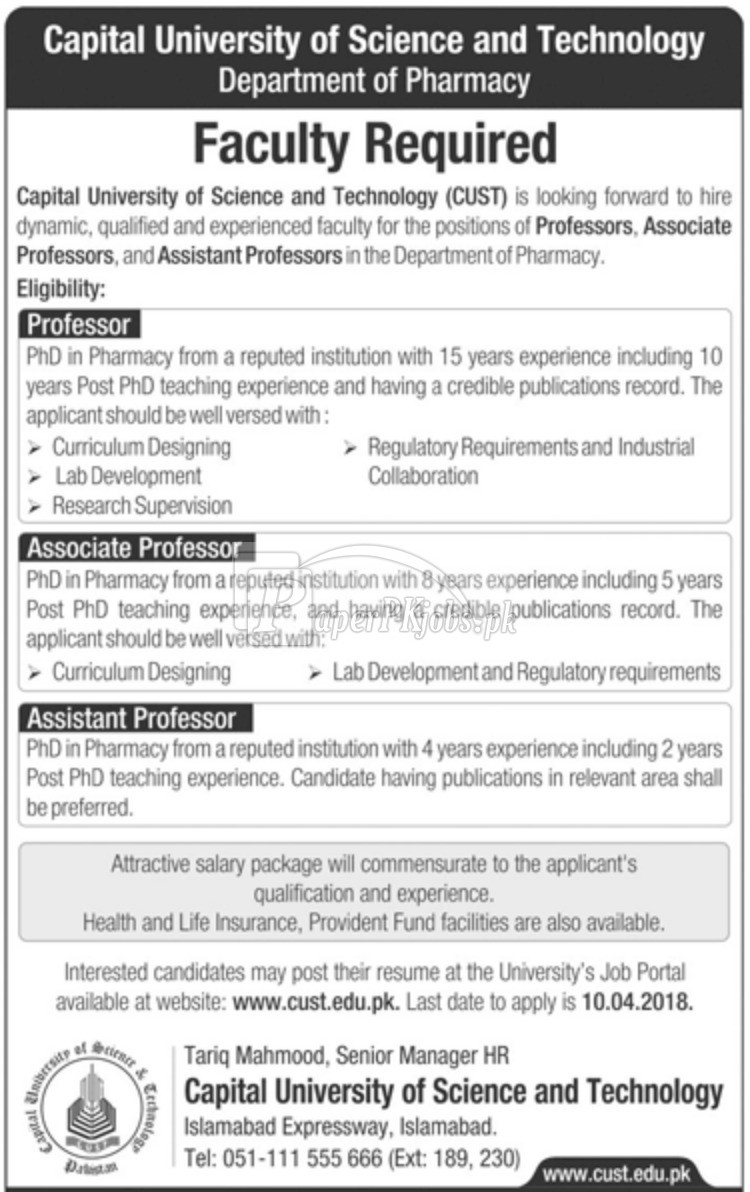 Capital University of Science & Technology Islamabad Jobs 2018