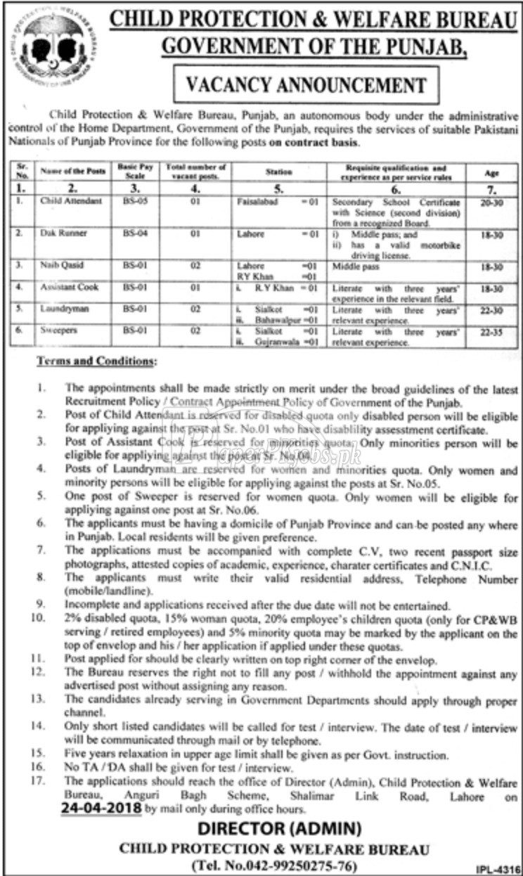 Child Protection & Welfare Bureau Punjab Jobs 2018
