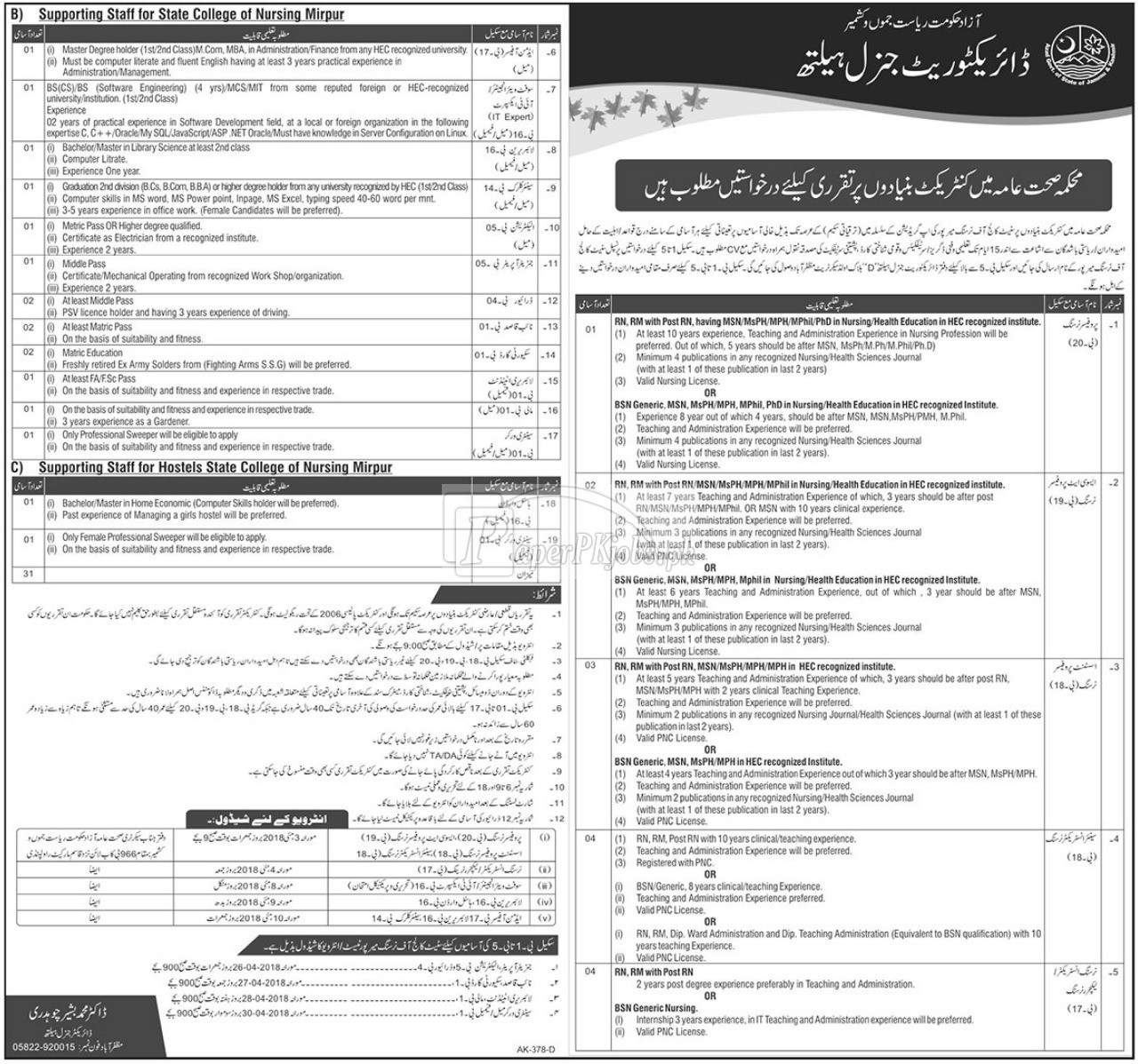 Directorate General Health AJK Jobs 2018
