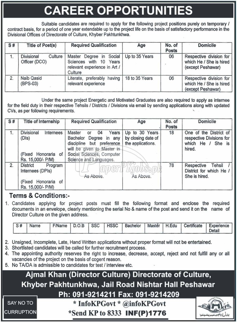 Directorate of Culture KPK Jobs 2018