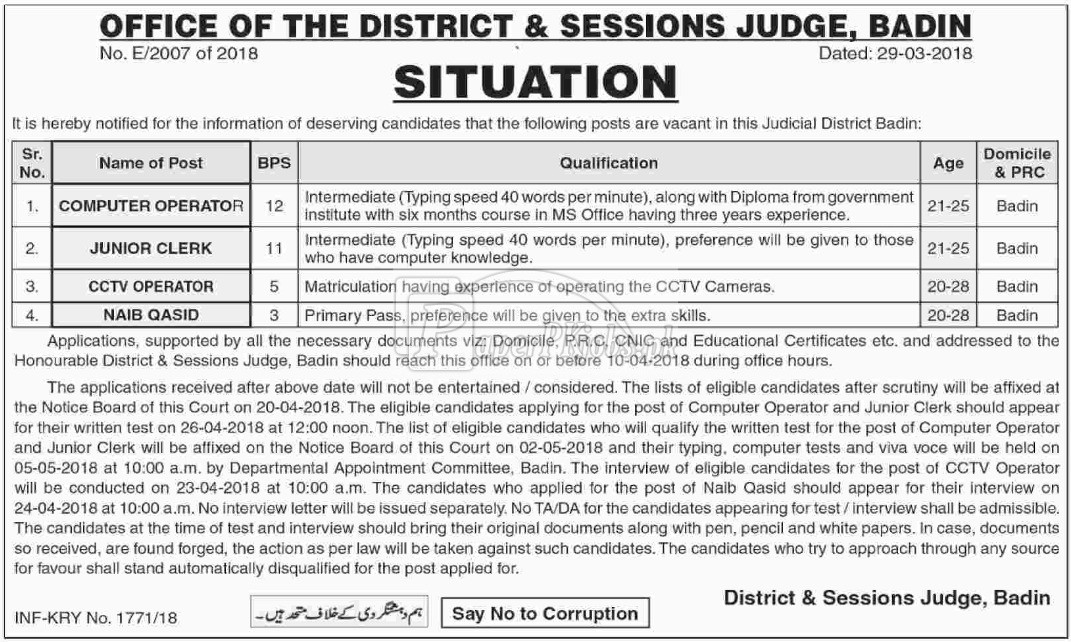 District & Session Court Badin Jobs 2018