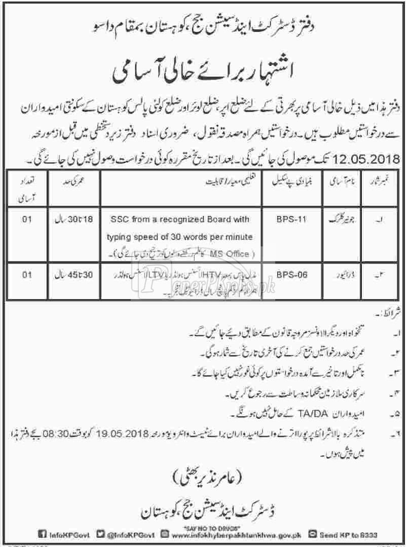 District & Session Court Kohistan Dasu Jobs 2018