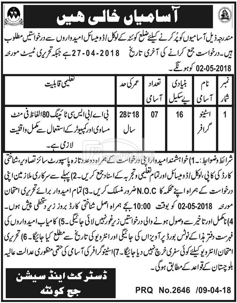 District & Session Court Quetta Jobs 2018