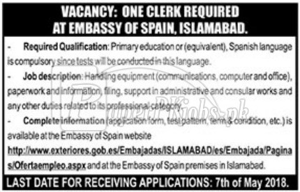 Embassy of Spain Islamabad Jobs 2018