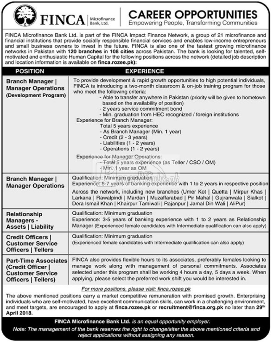 FINCA Microfinance Bank Ltd Jobs 2018