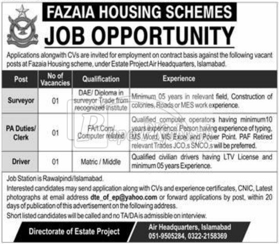 Fazaia Housing Scheme Islamabad Jobs 2018