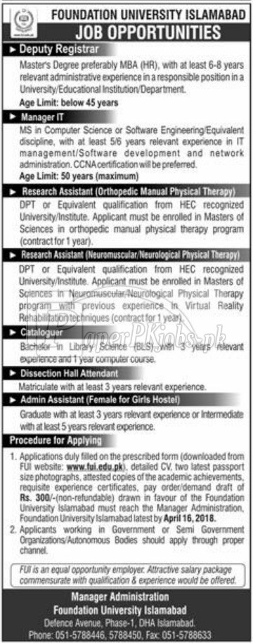 Foundation University Islamabad Jobs 2018