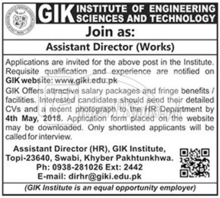 GIK Institute of Engineering Sciences & Technology Jobs 2018
