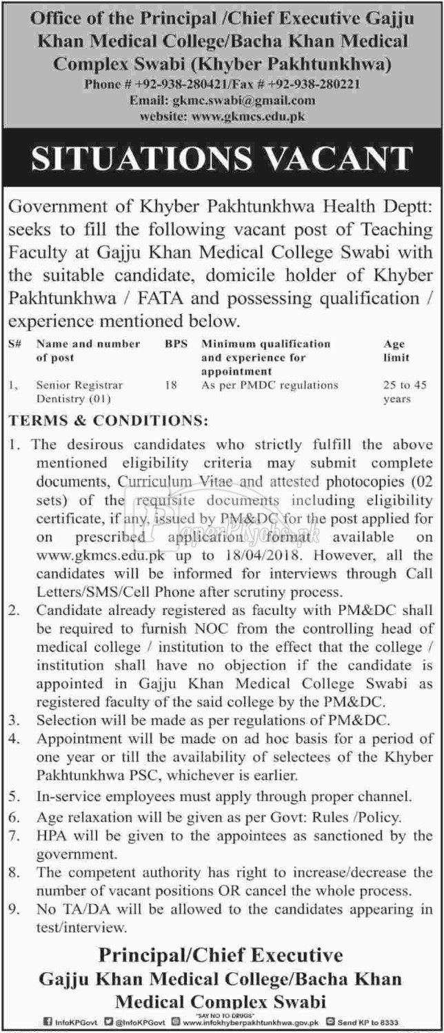 Gajju Khan Medical College Swabi KPK Jobs 2018