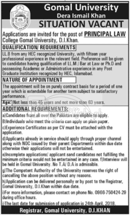 Gomal University Dera Ismail Khan Jobs 2018