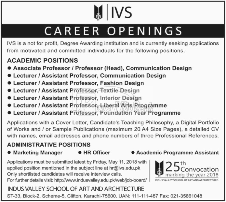 Indus Valley School of Art & Architecture IVS Jobs 2018