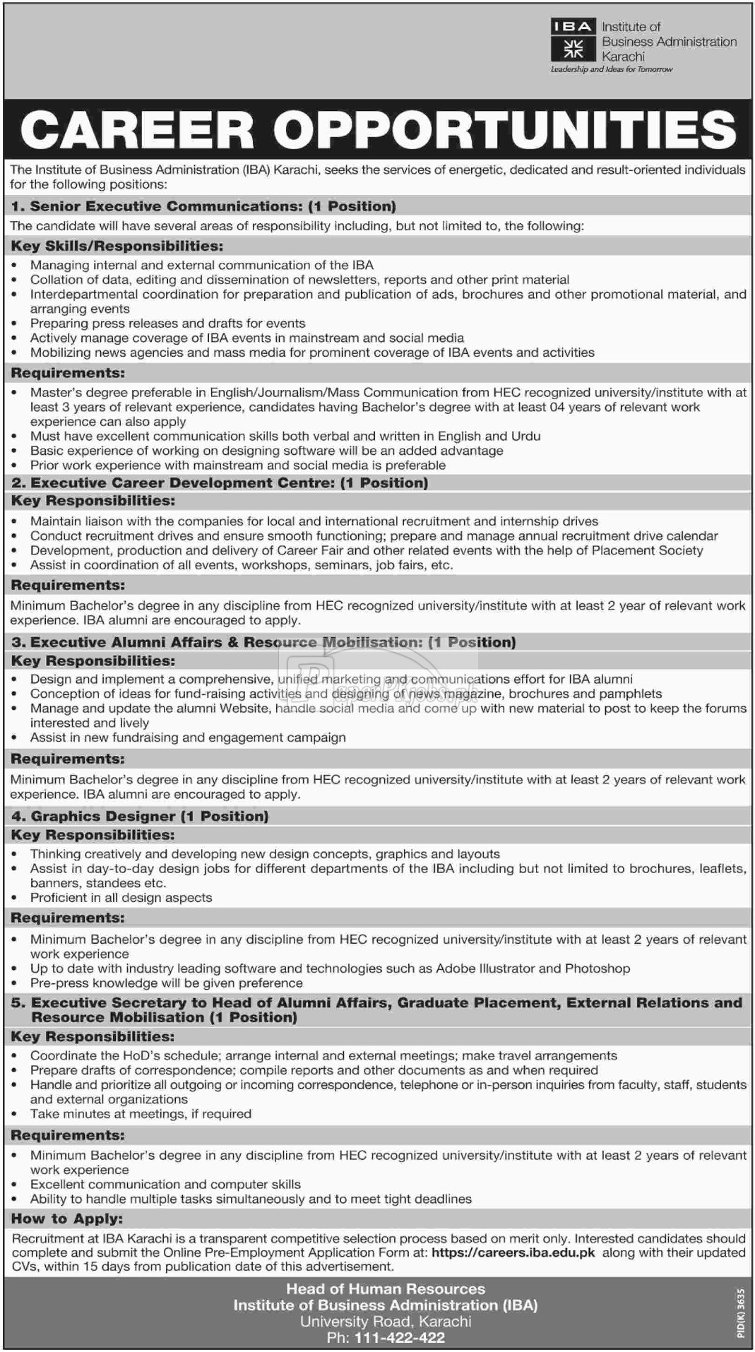 Institute of Business Administration IBA Karachi Jobs 2018
