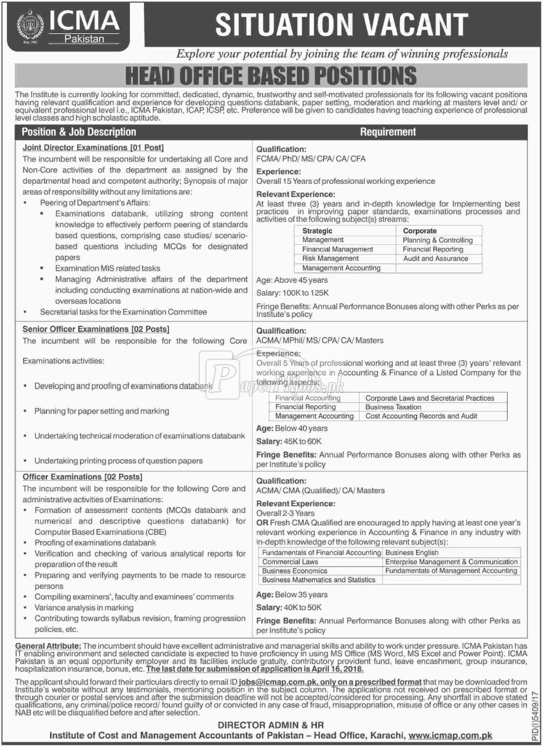 Institute of Cost & Management Accountants of Pakistan ICMAP Jobs 2018
