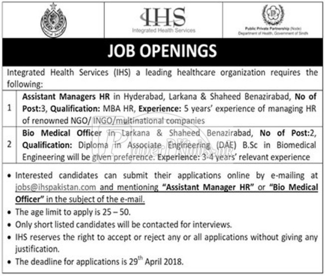 Integrated Health Sciences IHS Jobs 2018
