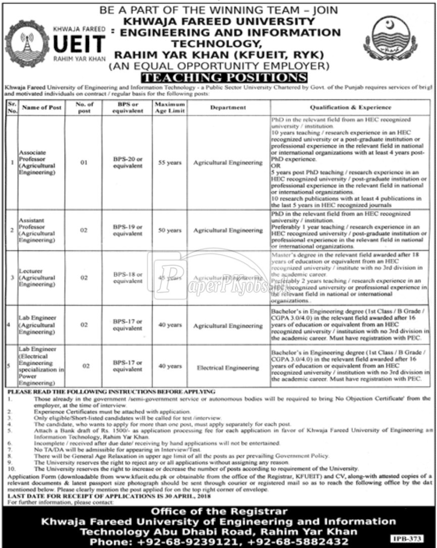 Khwaja Fareed University of Engineering and Information technology Jobs 2018 Latest