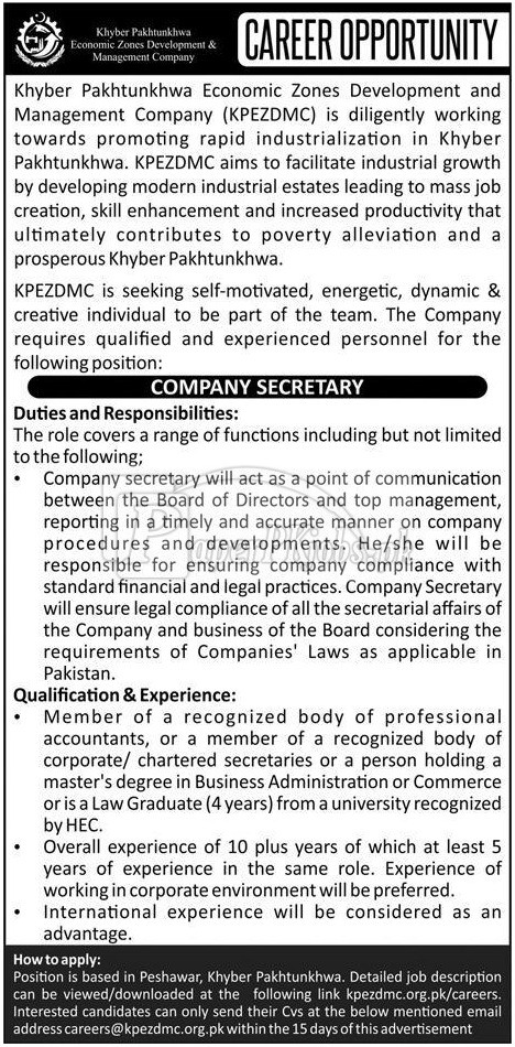 Khyber Pakhtunkhwa Economic Zones Development & Management Company KPEZDMC Jobs 2018