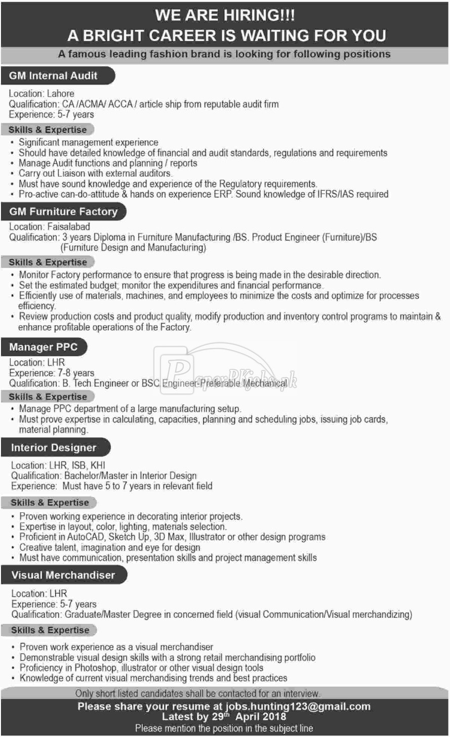 Leading Fashion Brand Jobs 2018
