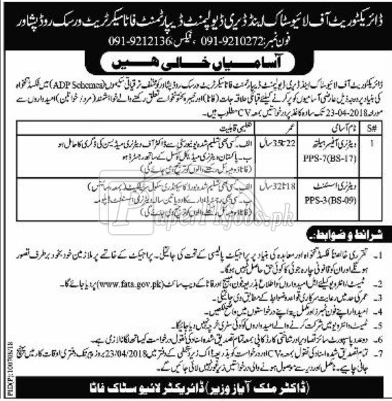 Livestock & Dairy Development Department Peshawar Jobs 2018