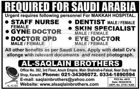 Makkah Hospital Saudi Arabia Jobs 2018