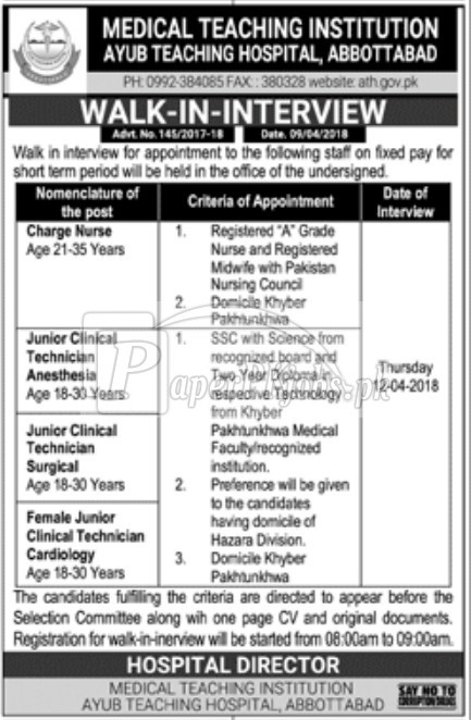 Medical Teaching Institution Ayub Teaching Hospital Jobs 2018 Latest
